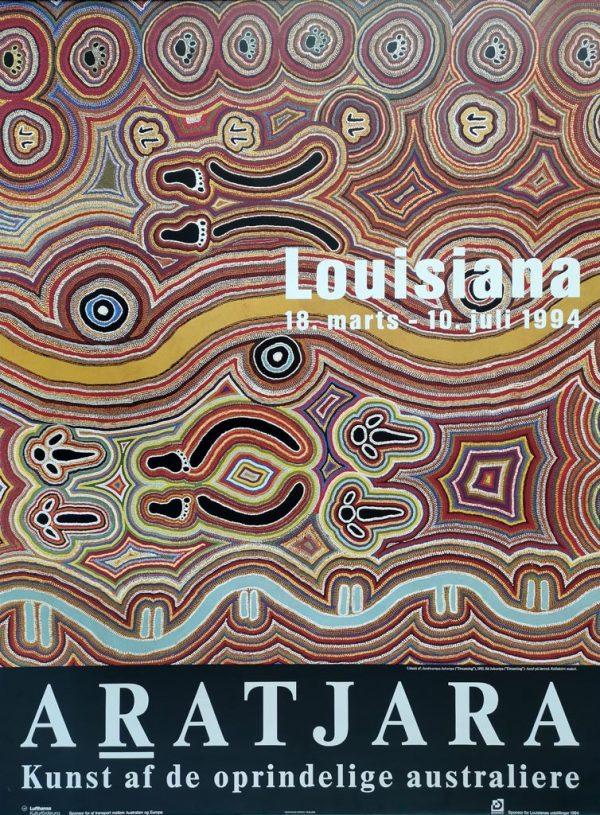 """Plakat fra udstillingen """"Aratjara - Kunst af de oprindelige australiere"""" på Louisiana 1994."""