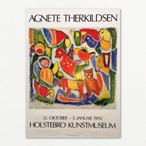 Original udstillingsplakat med Agnete Therkildsen fra Holstebro Kunstmuseum, 1991.