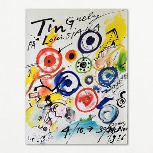 Original plakat fra udstilling med værker af Jean Tinguely på Louisiana 1986.