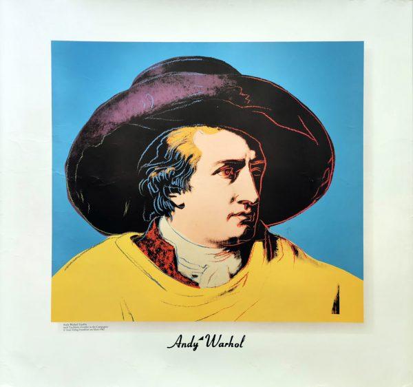 Warhol: Goethe. Plakat trykt hos Insel Verlag Frankfurt am Main 1982.