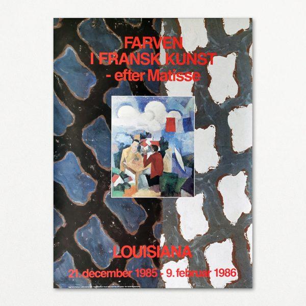 """Original plakat fra udstillingen """"Farven i fransk kunst efter Matisse"""" på Louisiana 1986"""