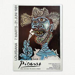 Original udstillingsplakat fra Louisiana 1981. Pablo Picasso: Homme au chapeau de paille et au cornet de glace