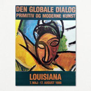 Plakat fra Louisiana 1986. Fra udstillingen Den globale dialog - Primitiv og moderne kunst.