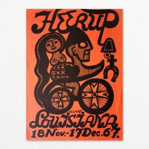 Original plakat med Henry Heerup fra udstilling på Louisiana 1967.
