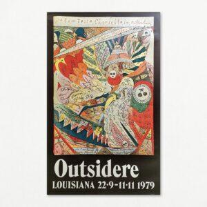 Original plakat med billede af Adolf Wölfli fra udstillingen Outsidere, Louisiana 1979.