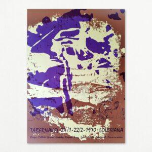 Original plakat med billede af Per Kirkeby fra udstillingen Tabernakel på Louisiana 1970