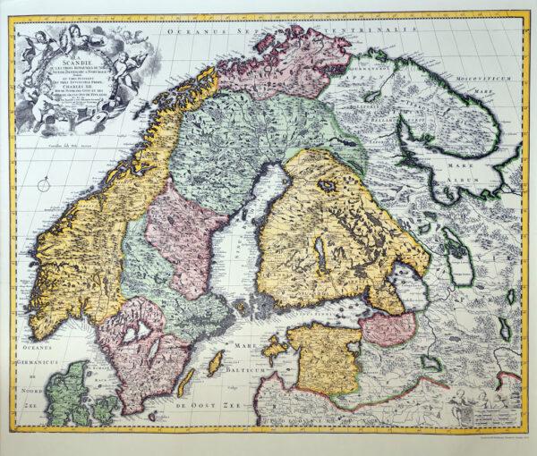 La Scandie - Kopi af gammelt kort over Skandinavien. trykt 1973