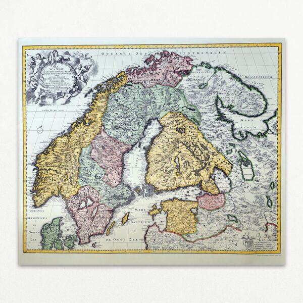 La Scandie - Kopi af gammelt kort over Skandinavien. Direktkopia, Sverige 1973