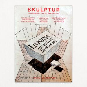 Plakat fra Louisiana med titlen Skulptur - 9 kunstnere fra Storbritannien.